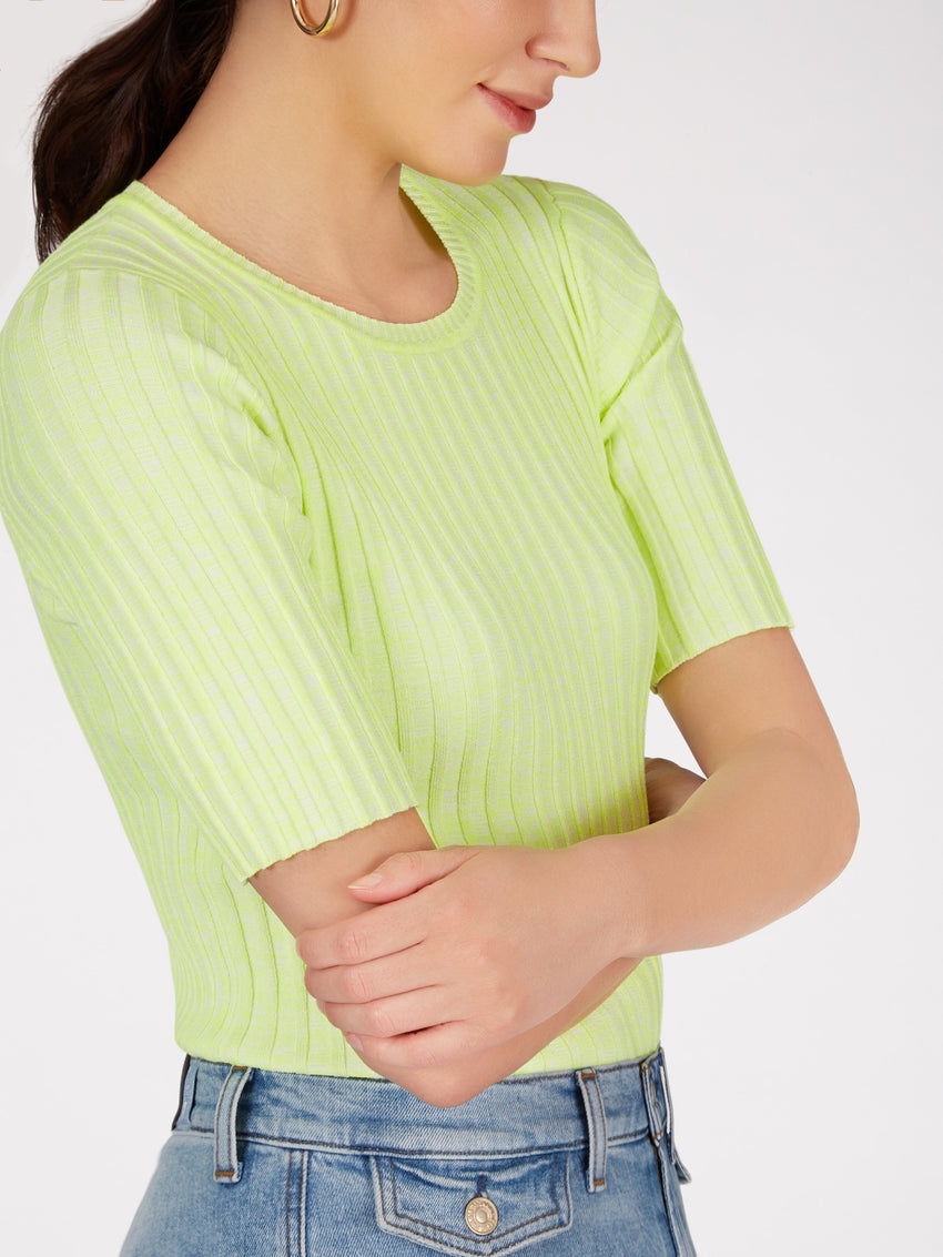 Ribbed Knit Neon Top