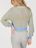 Cotton Mesh Tipped Cropped Sweater