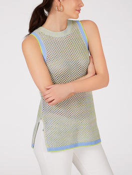 Cotton Mesh Side Slit Long Tank
