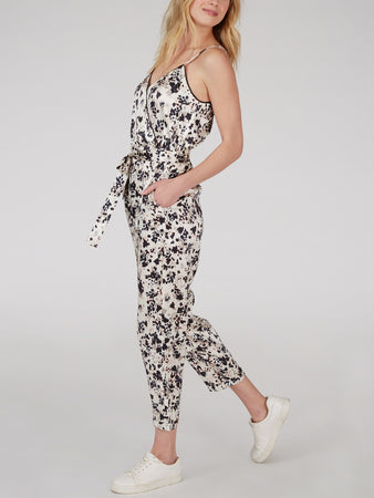 Animal Print Stretch Silk Jumpsuit