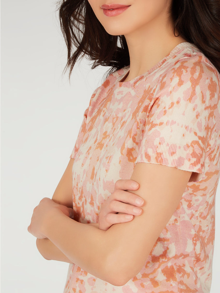 Printed Short Sleeve Knit Top
