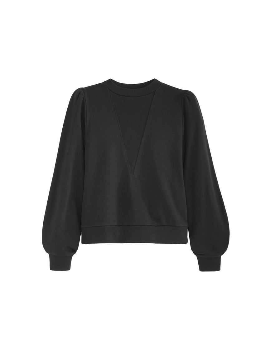 High Crewneck Long Sleeve Distressed Sweater