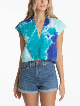 Tie Dye Front Slit Sleeveless Crewneck Top
