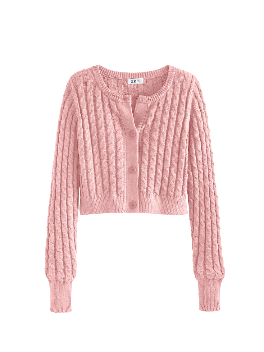 Cable Knit Long Sleeve Cropped Cardigan