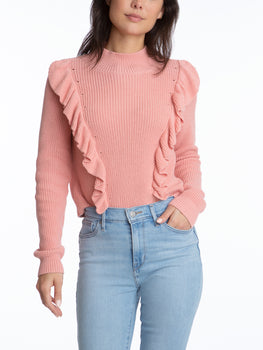 Mock Neck with Ruffles