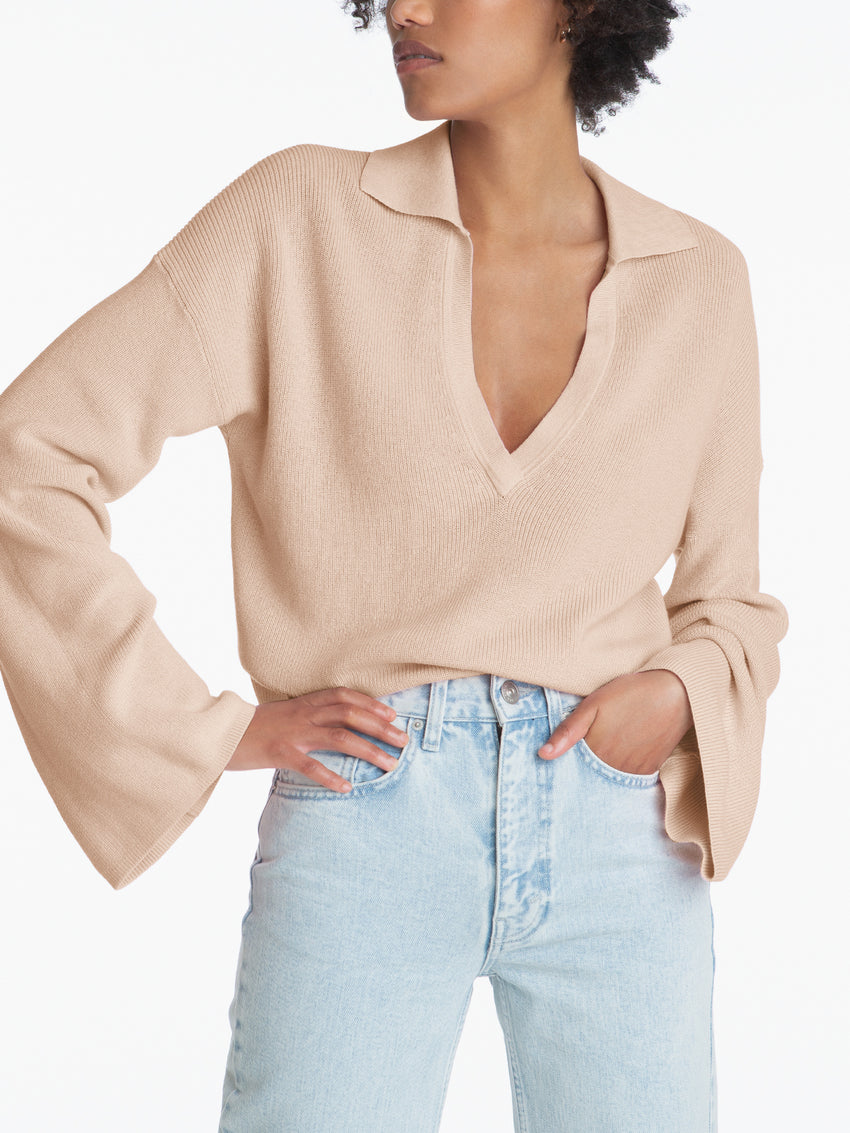 Deep Collared V-Neck Long Sleeve Cropped Top