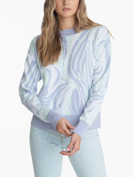 Crewneck Marble Print Long Sleeve Sweater