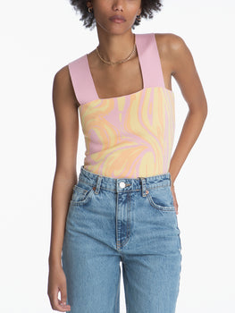 Square Marble Print Sleeveless Cropped Top