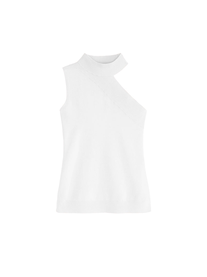 One Open-Shoulder Turtleneck Sleeveless Top