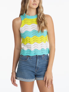 Crochet Crewneck Sleeveless Striped Top