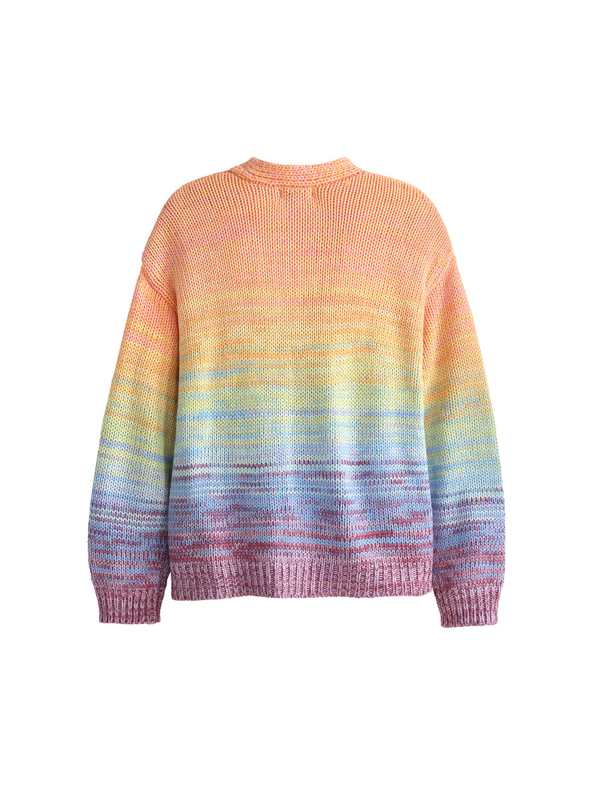 V-Neck Buttoned Long Sleeve Rainbow Cardigan