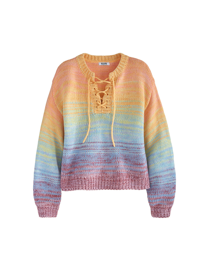 Lace-Up V-Neck Long Sleeve Rainbow Sweater