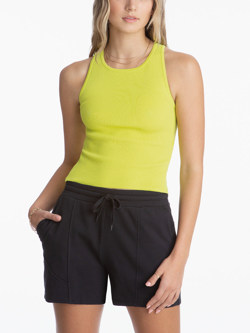 Ribbed Crewneck Racer Back Sleeveless Top