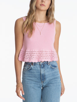 Scoop Neck Pointelle Sleeveless Top