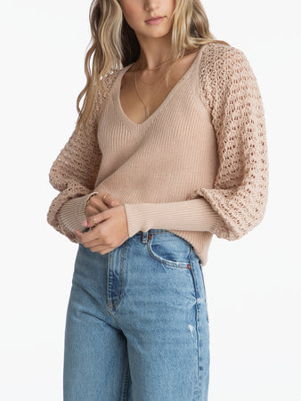 Wide V-Neck Pointelle Raglan Sweater