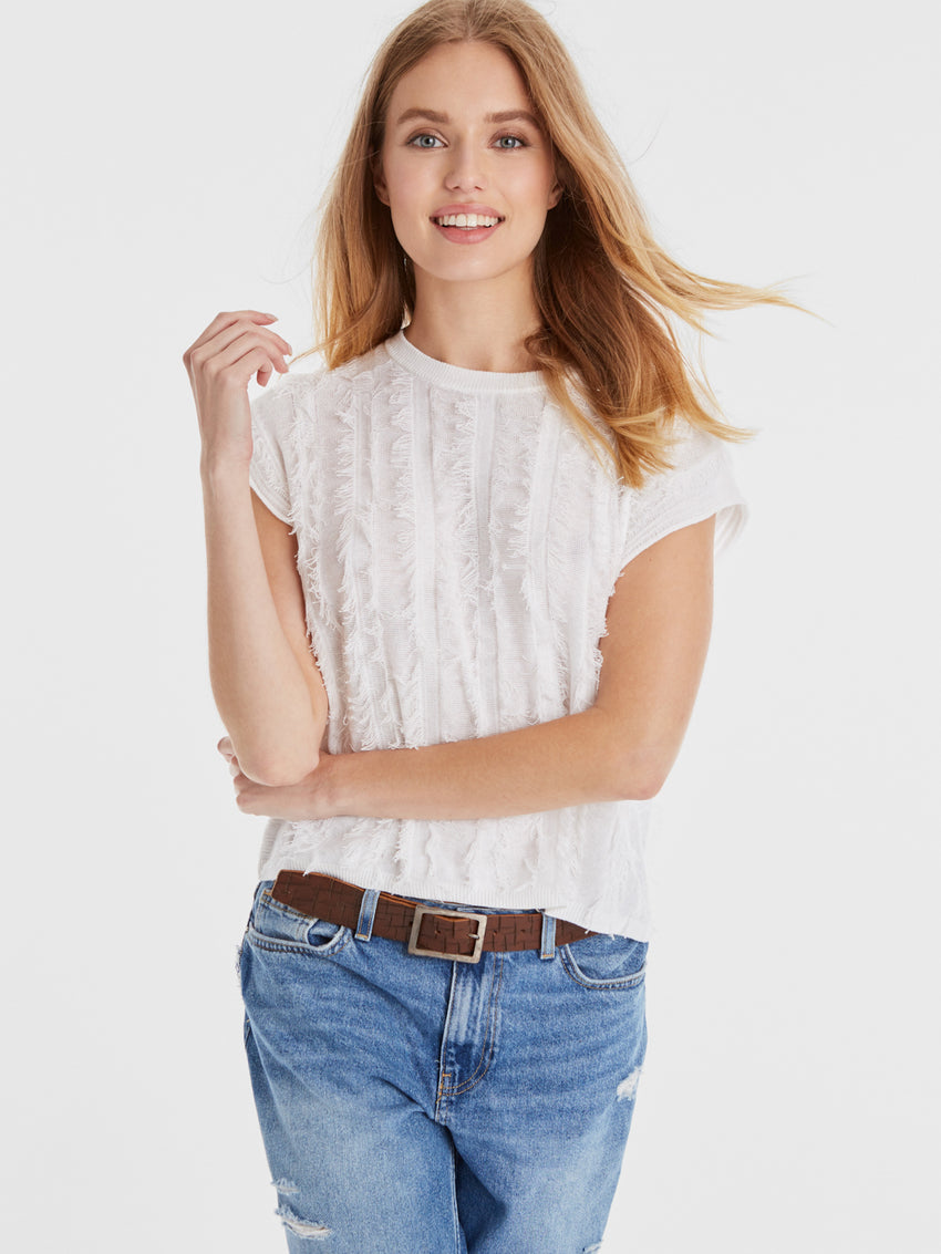 Cotton Fringe Cap Sleeve Sweater Tee