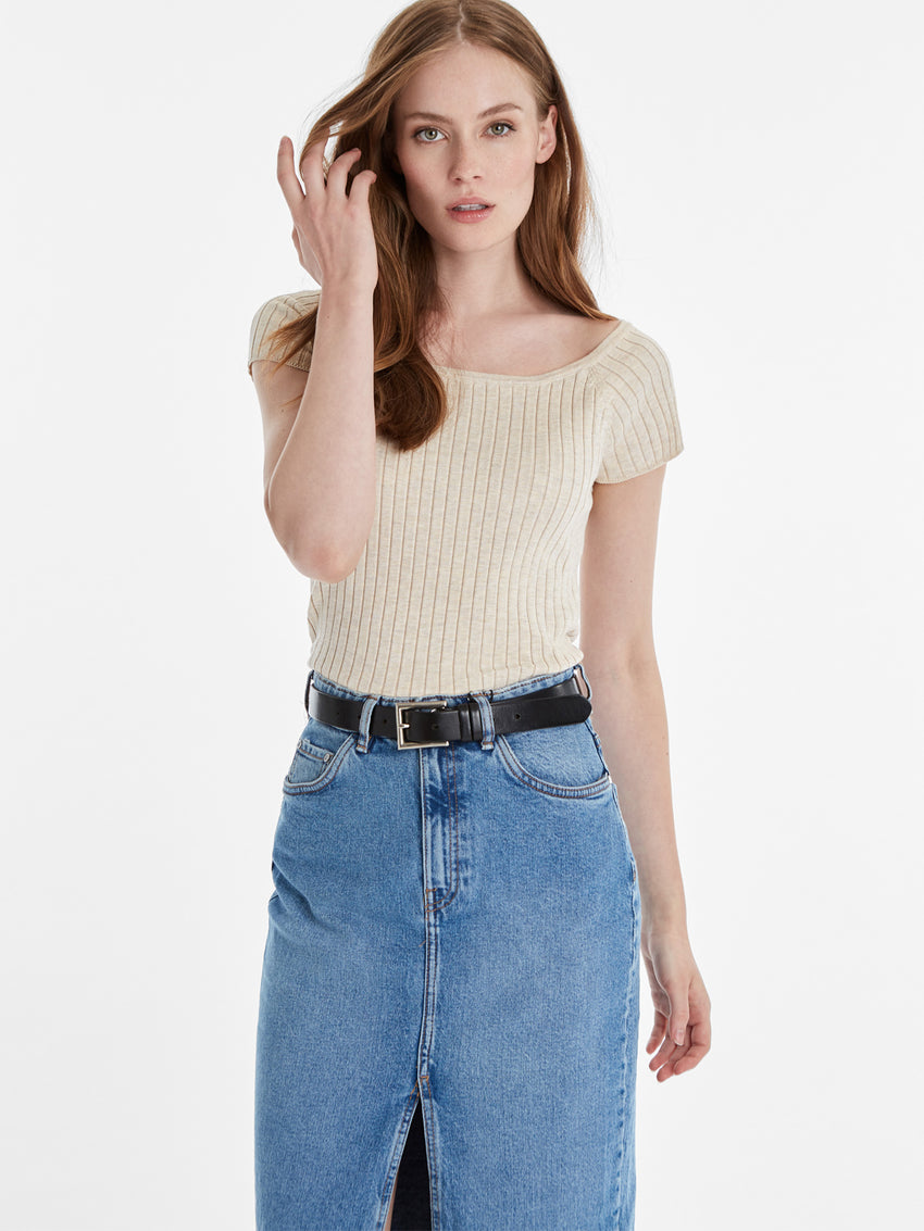 Wide Rib Knit Bateau Neck Cap Sleeve Top