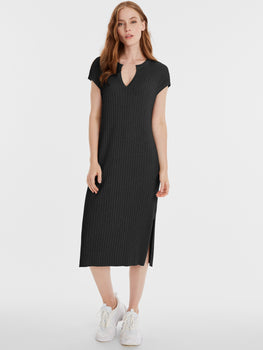 The Kate: Rib Knit Cap Sleeve Midi Dress