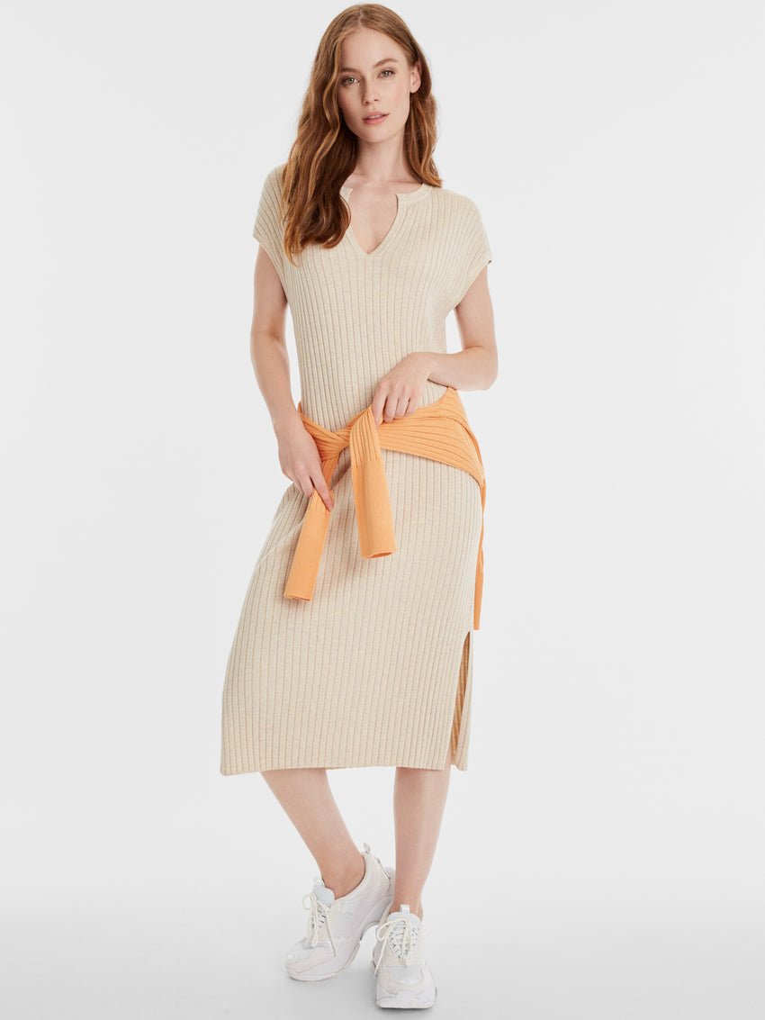 Kate Rib Knit Cap Sleeve Midi Dress