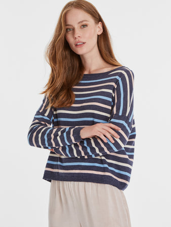 Cotton Blend Nautical Stripe Boatneck Sweater