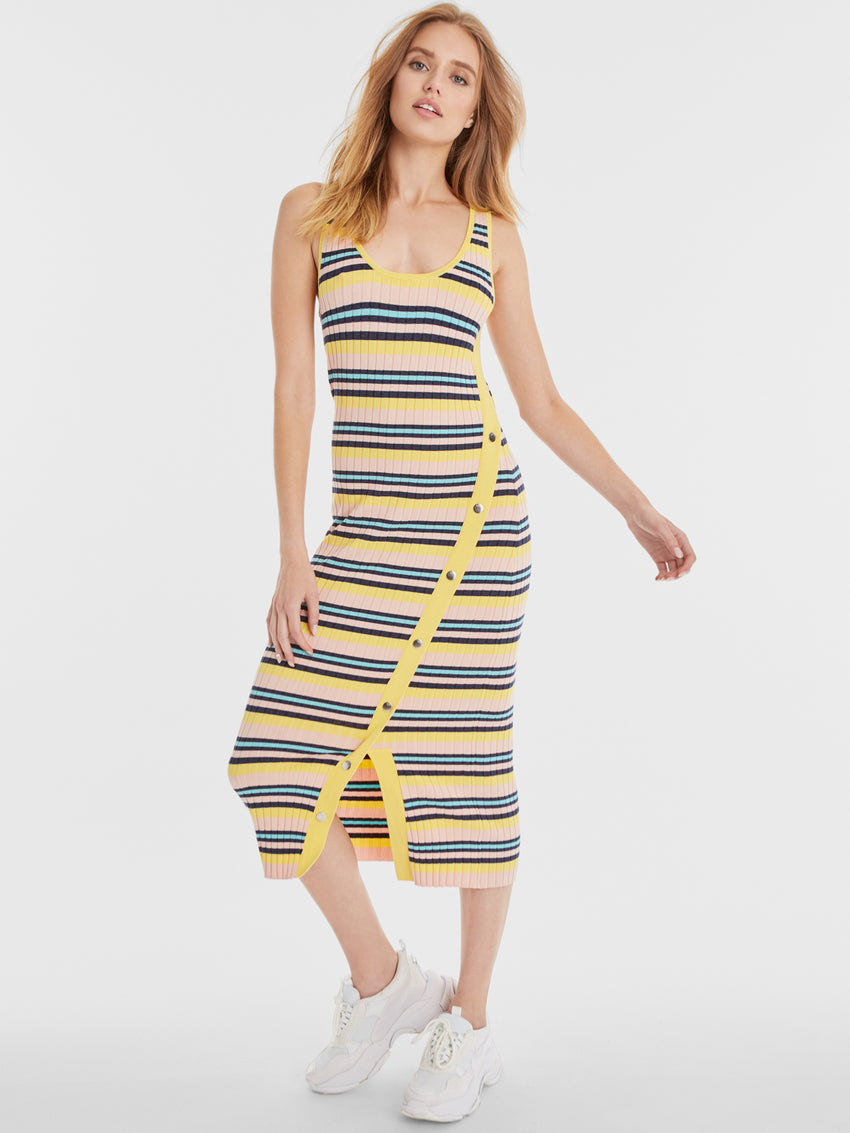 Wide Rib Knit Striped Snap Tank Dress