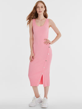Wide Rib Knit Snap Tank Dress
