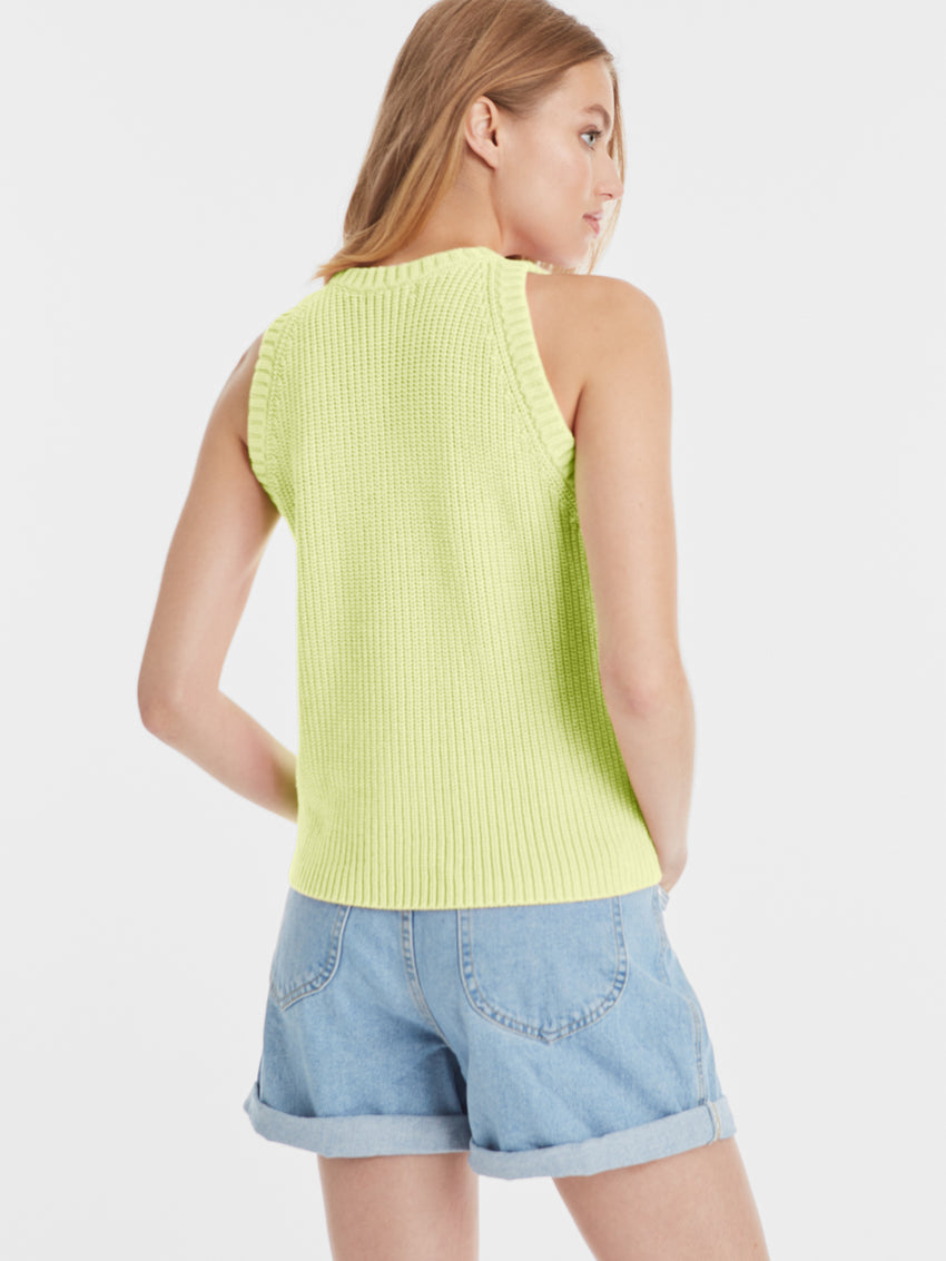Sleeveless Cotton Shaker Sweater Tank