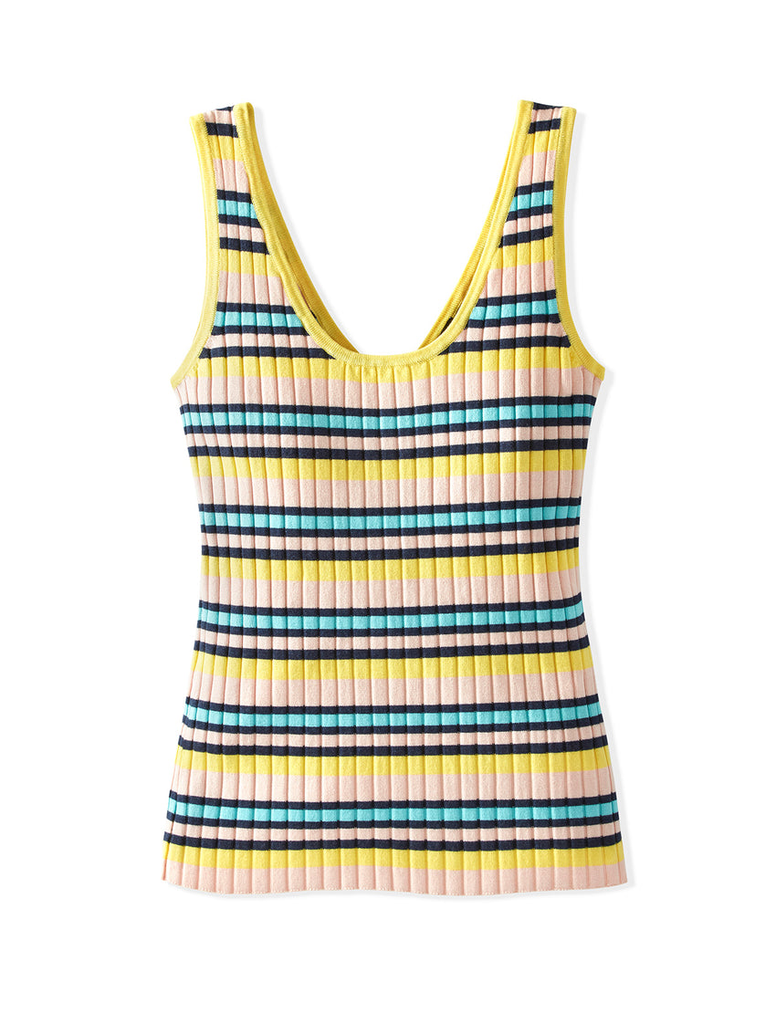 Wide Rib Knit Striped Two Way Tank