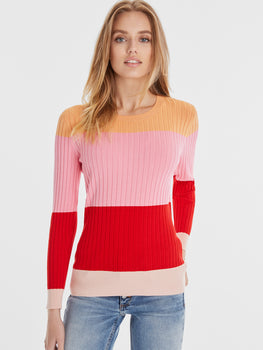 Wide Rib Knit Colorblock Crewneck Sweater