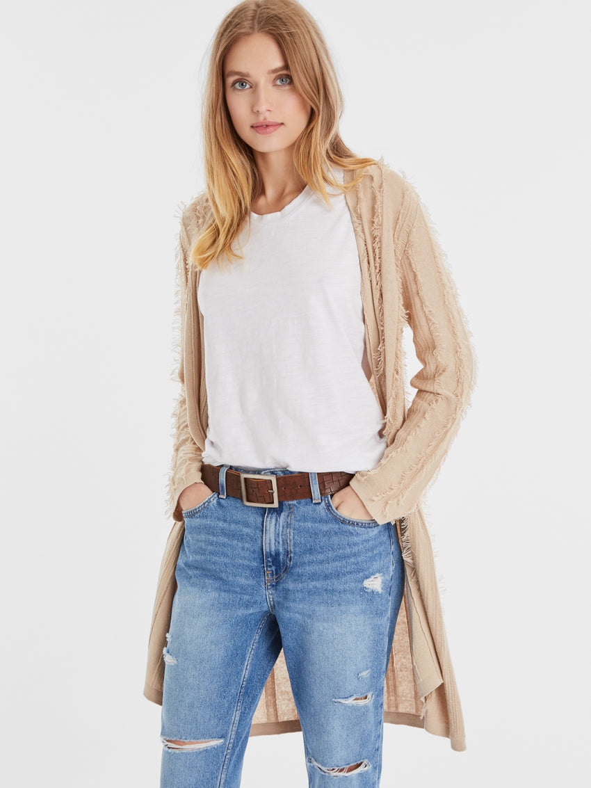 Cotton Fringe Open Front Duster Cardigan
