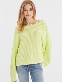 Karrah Cotton Shaker Distressed Two-Way Sweater