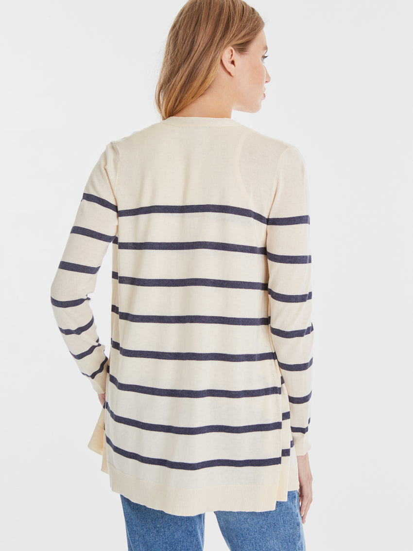 Cotton Blend Nautical Stripe Open Front Cardigan
