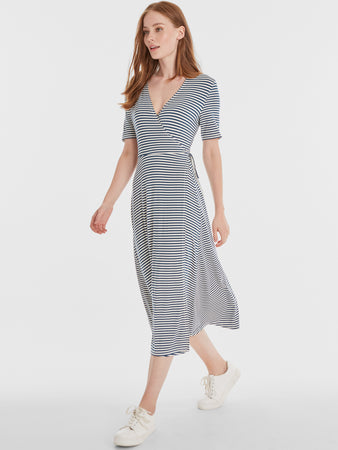 Belle Striped Short Sleeve Wrap Dress