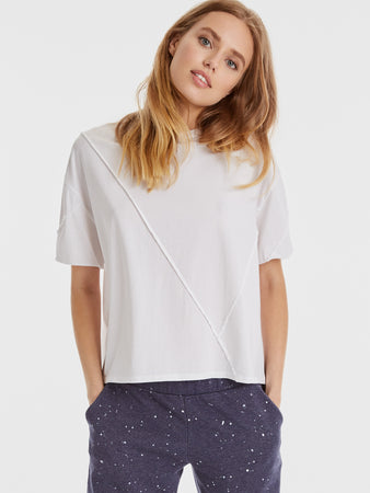 Cotton Jersey Raw Cut Raised Seam T-Shirt