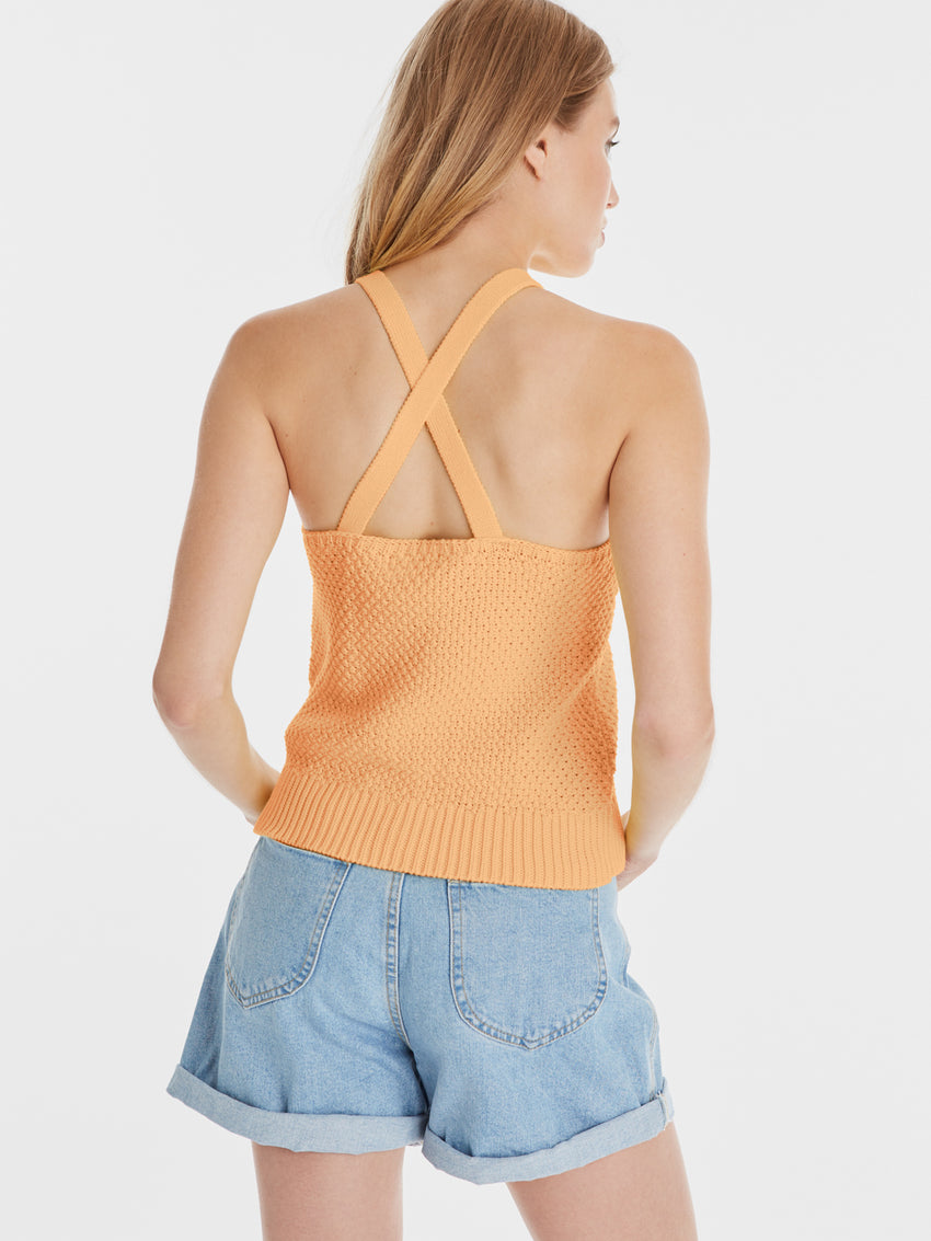 Cotton Shaker Seed Stitch Cross Back Halter Tank