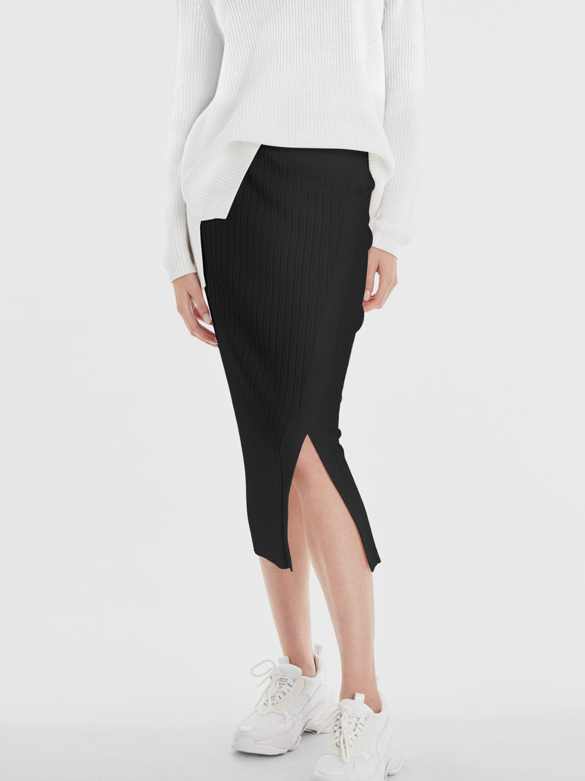 Wide Rib Knit Midi Skirt