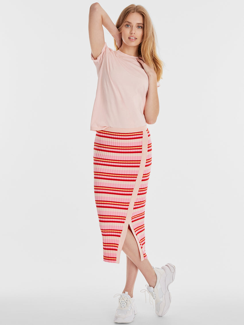 Wide Rib Knit Striped Midi Skirt