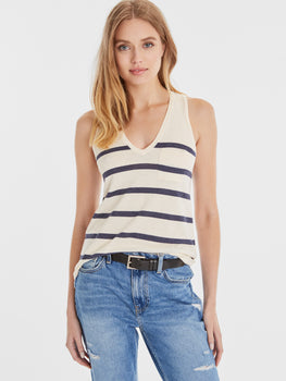 Cotton Blend Nautical Stripe V-Neck Pocket Tank
