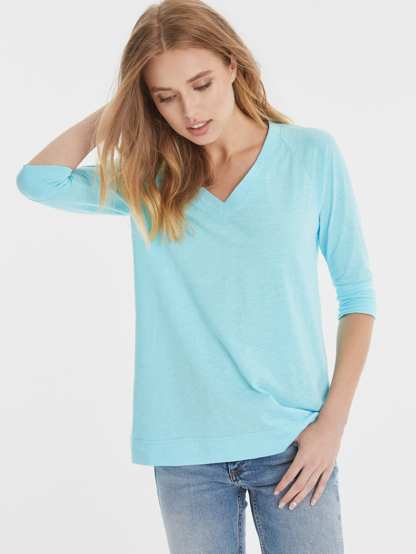 Cotton Slub V-Neck ¾ Sleeve T-Shirt