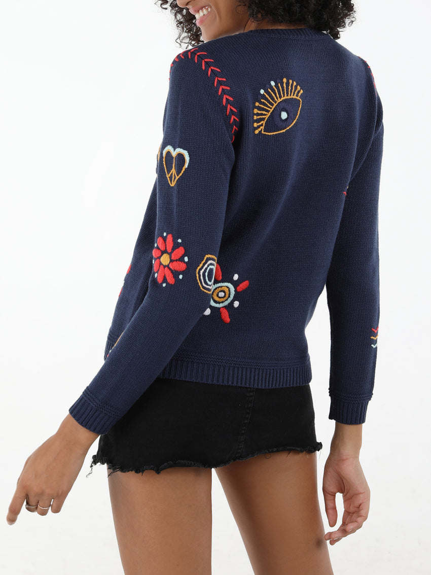 Allover Embroidered Crewneck Sweater