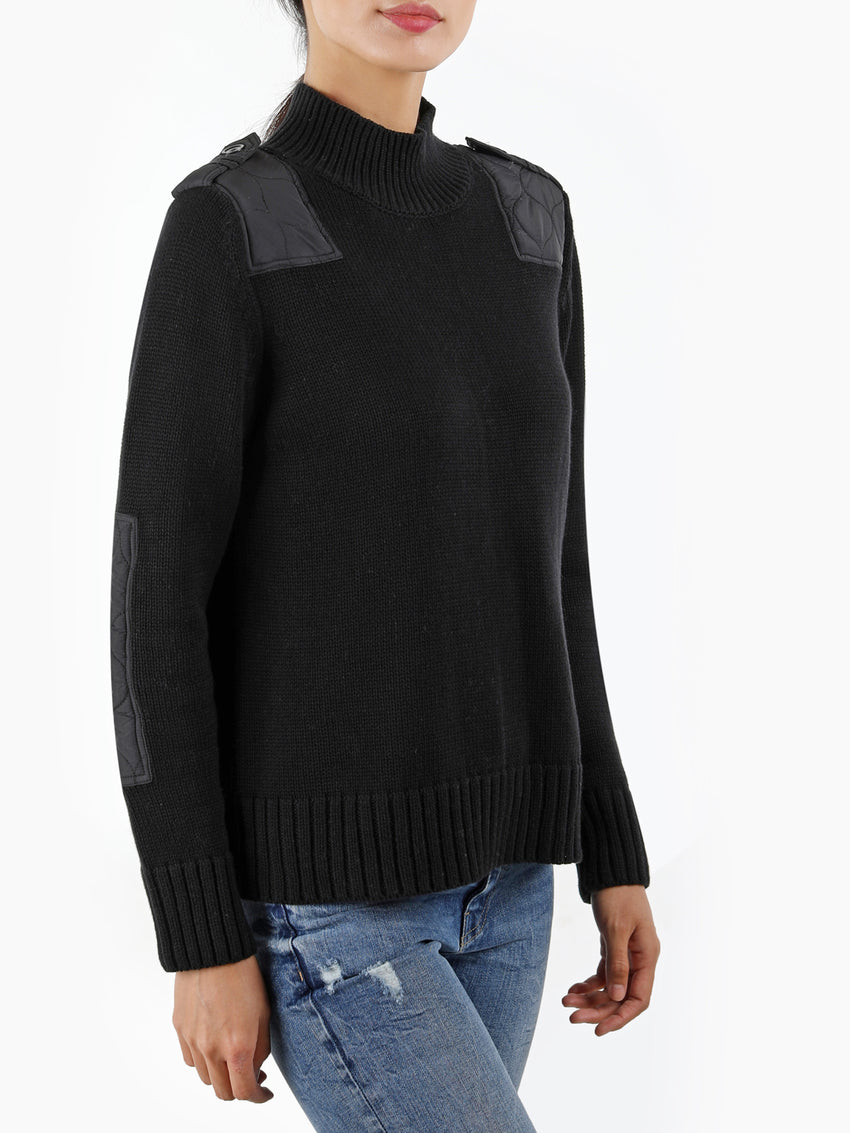Military Epaulet Cotton Shaker Sweater