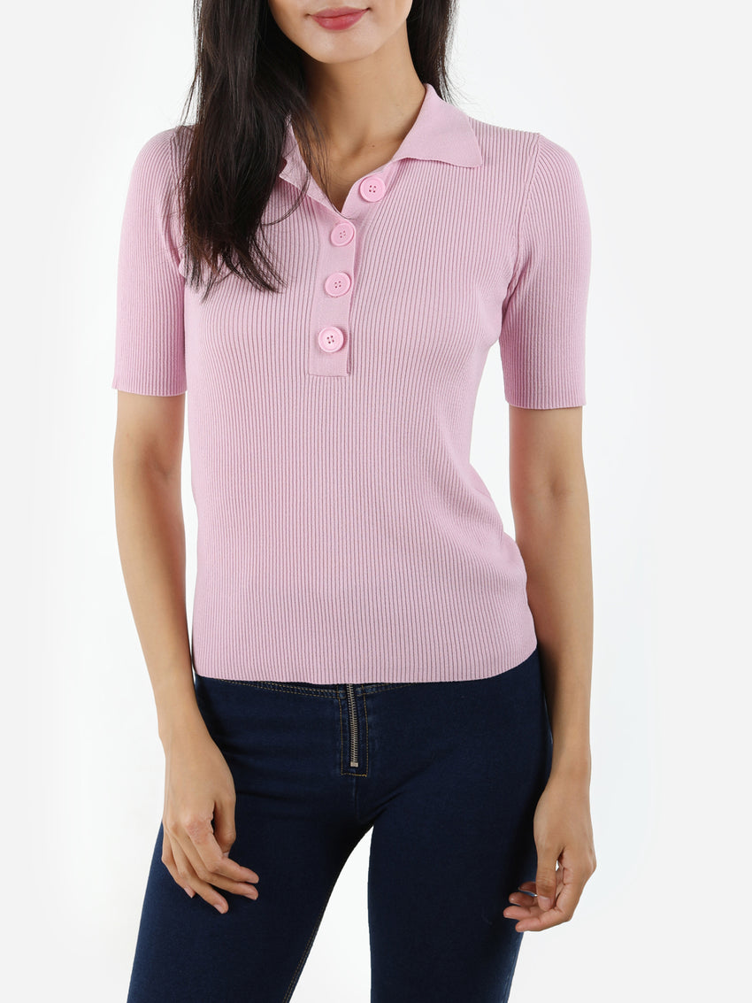 Short Sleeve Ribbed Knit Polo