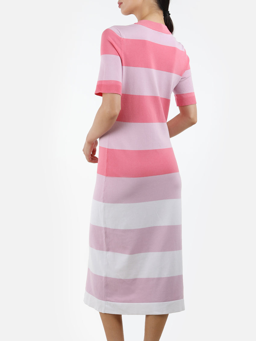 Striped Short Sleeve Knit Maxi Dress