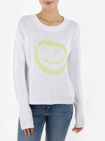 Smiley Face Cotton Shaker Crewneck Sweater