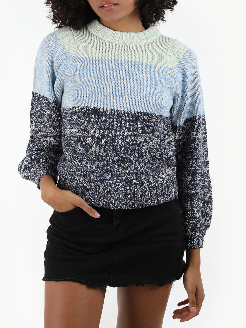 Pre-Twist Striped Bishop Sleeve Crewneck Sweater
