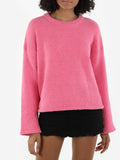Cropped Plush Crewneck Sweater