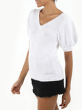 Short Puff Sleeve Cotton Shaker Sweater