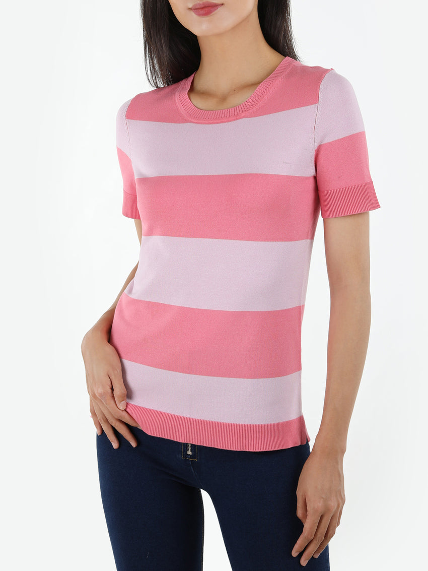 Striped Short Sleeve Knit Tee