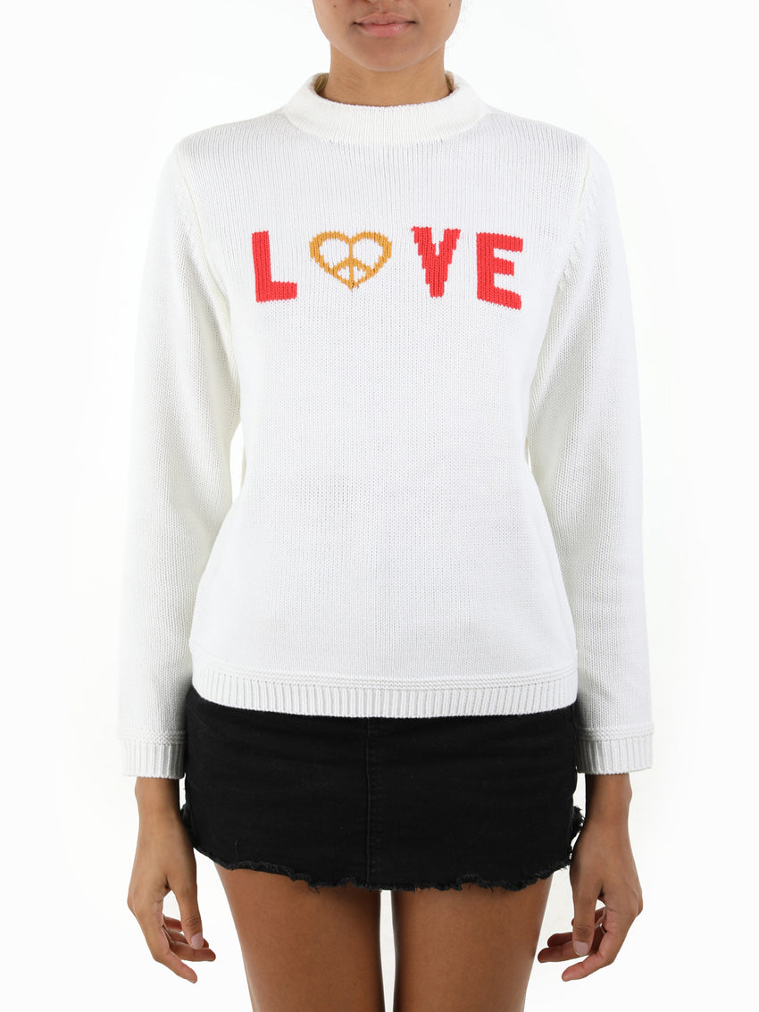 Peace and Love Intarsia Crewneck Sweater