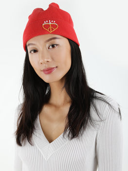 Waffle Stitch Embroidered Knit Beanie